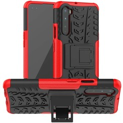 Case for OnePlus Nord - Heavy Duty Hybrid Tough Rugged Dual Layer Armor - Kickstand Cover - Red
