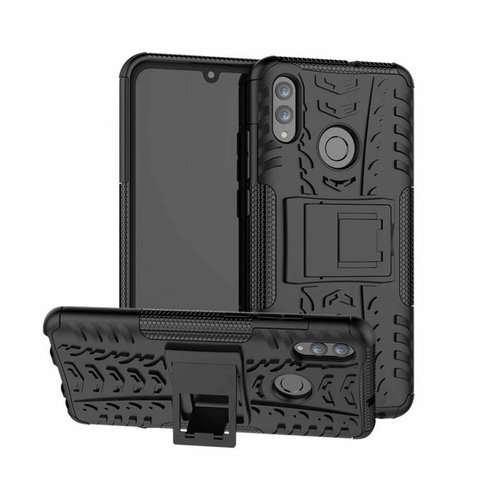 Cover2day  Case for Huawei P Smart 2019 - Heavy Duty Hybrid Tough Rugged Dual Layer Armor - Kickstand Cover - Black