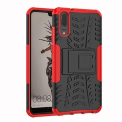 Case for Huawei P20 - Heavy Duty Hybrid Tough Rugged Dual Layer Armor - Kickstand Cover - Red