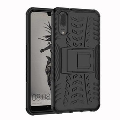 Case for Huawei P20 - Heavy Duty Hybrid Tough Rugged Dual Layer Armor - Kickstand Cover - Black