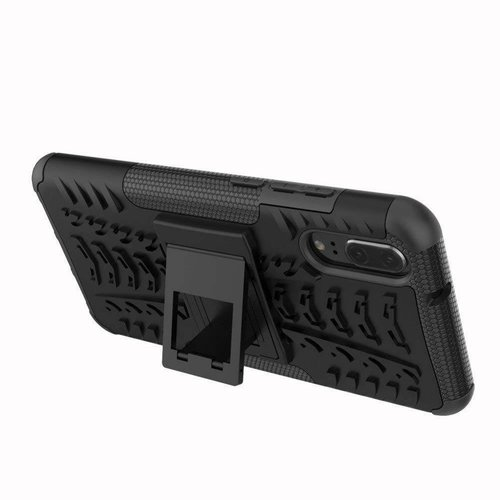 Cover2day  Case for Huawei P20 - Heavy Duty Hybrid Tough Rugged Dual Layer Armor - Kickstand Cover - Black