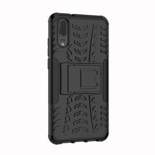 Cover2day  Case for Huawei P20 Lite - Heavy Duty Hybrid Tough Rugged Dual Layer Armor - Kickstand Cover - Black