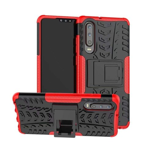 Cover2day  Case for Huawei P30 - Heavy Duty Hybrid Tough Rugged Dual Layer Armor - Kickstand Cover - Red