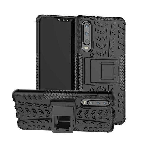 Cover2day  Case for Huawei P30 - Heavy Duty Hybrid Tough Rugged Dual Layer Armor - Kickstand Cover - Black