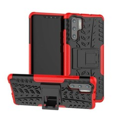 Case for Huawei P30 Pro - Heavy Duty Hybrid Tough Rugged Dual Layer Armor - Kickstand Cover - Red