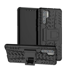 Case for Huawei P30 Pro - Heavy Duty Hybrid Tough Rugged Dual Layer Armor - Kickstand Cover - Black