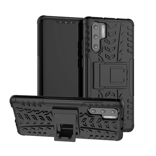 Cover2day  Case for Huawei P30 Pro - Heavy Duty Hybrid Tough Rugged Dual Layer Armor - Kickstand Cover - Black