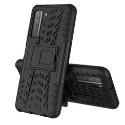 Case for Huawei P40 - Heavy Duty Hybrid Tough Rugged Dual Layer Armor - Kickstand Cover - Black