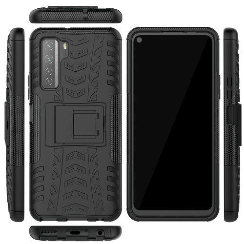 Cover2day  Case for Huawei P40 - Heavy Duty Hybrid Tough Rugged Dual Layer Armor - Kickstand Cover - Black