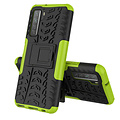 Cover2day  Case for Huawei P40 - Heavy Duty Hybrid Tough Rugged Dual Layer Armor - Kickstand Cover - Green