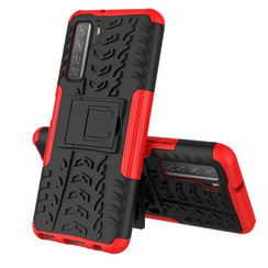 Case for Huawei P40 - Heavy Duty Hybrid Tough Rugged Dual Layer Armor - Kickstand Cover - Red