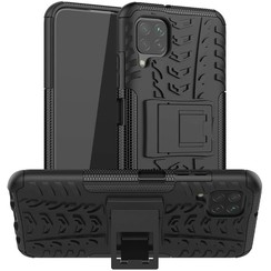 Case for Huawei P40 lite - Heavy Duty Hybrid Tough Rugged Dual Layer Armor - Kickstand Cover - Black
