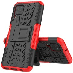 Case for Huawei P40 lite - Heavy Duty Hybrid Tough Rugged Dual Layer Armor - Kickstand Cover - Red