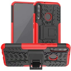 Case for Huawei P40 Lite E - Heavy Duty Hybrid Tough Rugged Dual Layer Armor - Kickstand Cover - Red