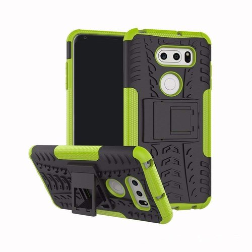 Cover2day  Case for LG V35 ThinQ - Heavy Duty Hybrid Tough Rugged Dual Layer Armor - Kickstand Cover - Green