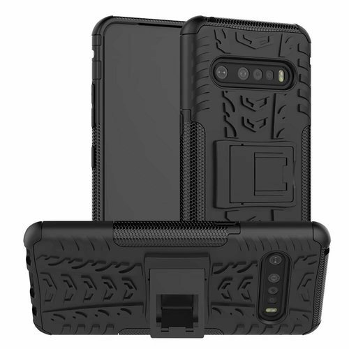 Cover2day  Case for LG V60 ThinQ 5G - Heavy Duty Hybrid Tough Rugged Dual Layer Armor - Kickstand Cover - Black