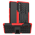 Cover2day  Case for LG Velvet - Heavy Duty Hybrid Tough Rugged Dual Layer Armor - Kickstand Cover - Red