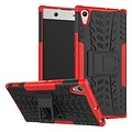 Cover2day  Case for Sony Xperia XA1 Ultra - Heavy Duty Hybrid Tough Rugged Dual Layer Armor - Kickstand Cover - Red