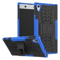 Case for Sony Xperia XA1 Ultra - Heavy Duty Hybrid Tough Rugged Dual Layer Armor - Kickstand Cover - Blue