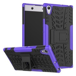 Case for Sony Xperia XA1 Ultra - Heavy Duty Hybrid Tough Rugged Dual Layer Armor - Kickstand Cover - Purple