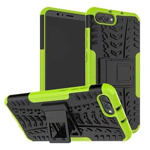Cover2day  Case for Huawei Y5 Prime (2018) - Heavy Duty Hybrid Tough Rugged Dual Layer Armor - Kickstand Cover - Green