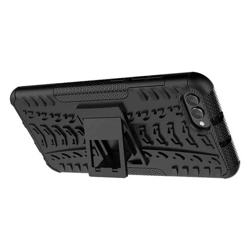 Cover2day  Case for Huawei Y5 Prime (2018) - Heavy Duty Hybrid Tough Rugged Dual Layer Armor - Kickstand Cover - Black