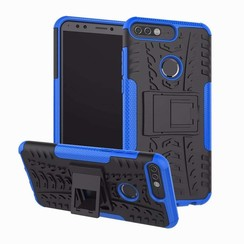 Case for Huawei Y7 2018 - Heavy Duty Hybrid Tough Rugged Dual Layer Armor - Kickstand Cover - Blue