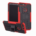 Cover2day  Case for Huawei Y7 2018 - Heavy Duty Hybrid Tough Rugged Dual Layer Armor - Kickstand Cover - Red
