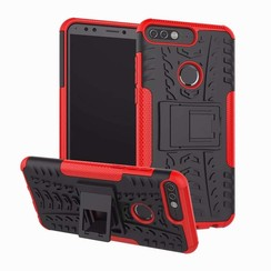 Case for Huawei Y7 2018 - Heavy Duty Hybrid Tough Rugged Dual Layer Armor - Kickstand Cover - Red