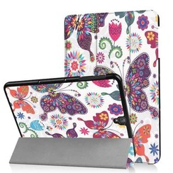 Case2go - Case for Samsung Galaxy Tab S3 9.7 Slim Tri-Fold Book Case - Lightweight Smart Cover Colorfull Butterfly
