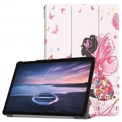 Case2go - Case for Samsung Galaxy Tab S4 Slim Tri-Fold Book Case - Lightweight Smart Cover - Flower fairy