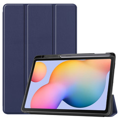 Case2go - Case for Samsung Galaxy Tab S6 Lite - Slim Tri-Fold Book Case - Lightweight Smart Cover mit Stylus Pen holder - Navy Blue