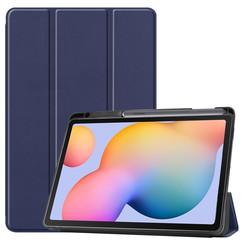Samsung Galaxy Tab S6 Lite hoes - Tri-Fold Book Case met Stylus Pen houder - Donker Blauw