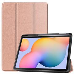 Samsung Galaxy Tab S6 Lite hoes - Tri-Fold Book Case met Stylus Pen houder - Rosé Goud