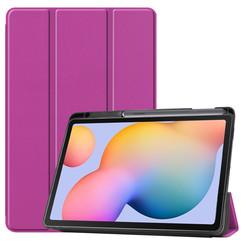 Samsung Galaxy Tab S6 Lite hoes - Tri-Fold Book Case met Stylus Pen houder - Paars