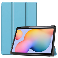 Case2go - Case for Samsung Galaxy Tab S6 Lite - Slim Tri-Fold Book Case - Lightweight Smart Cover mit Stylus Pen holder - Blue