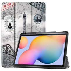 Case2go - Case for Samsung Galaxy Tab S6 Lite - Slim Tri-Fold Book Case - Lightweight Smart Cover mit Stylus Pen holder - Eiffeltower