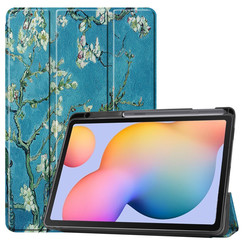 Samsung Galaxy Tab S6 Lite hoes - Tri-Fold Book Case met Stylus Pen houder - Witte Bloesem