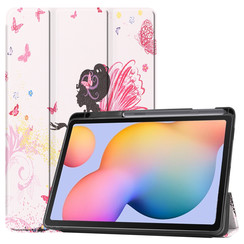 Case2go - Case for Samsung Galaxy Tab S6 Lite - Slim Tri-Fold Book Case - Lightweight Smart Cover mit Stylus Pen holder - Flower Fairy