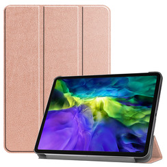 Case2go - Case for iPad Pro 11 (2020) - Slim Tri-Fold Book Case - Lightweight Smart Cover - Rosé-Gold