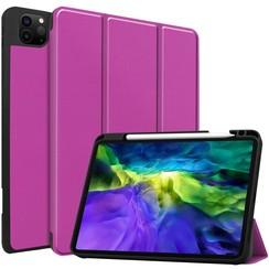 Case2go - Case for iPad Pro 11 (2020) - Slim Tri-Fold Book Case - Lightweight Smart Cover Whiteh Pencil Holder - Purple