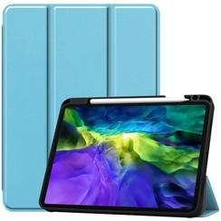 Case2go - Case for iPad Pro 11 (2020) - Slim Tri-Fold Book Case - Lightweight Smart Cover Whiteh Pencil Holder - Blue