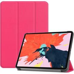 Case2go - Case for iPad Pro 12.9 (2020) - Slim Tri-Fold Book Case - Lightweight Smart Cover - Hot Pink