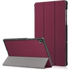 Case2go - Case for Lenovo Tab M10 Plus - Slim Tri-Fold Book Case - Lightweight Smart Cover (TB-X606) - Wine Red