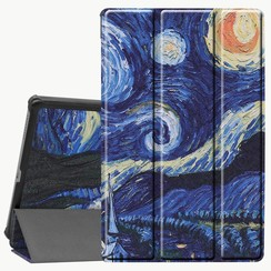 Case2go - Case for Lenovo Tab M10 Plus - Slim Tri-Fold Book Case - Lightweight Smart Cover (TB-X606) - Starry sky