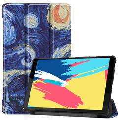 Case2go - Case for Lenovo Tab M8 FHD - Slim Tri-Fold Book Case - Lightweight Smart Cover - Starry sky