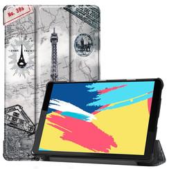 Case2go - Case for Lenovo Tab M8 FHD - Slim Tri-Fold Book Case - Lightweight Smart Cover - Eiffeltower