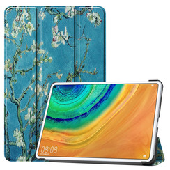 Huawei MatePad Pro 10.8 hoes - Tri-Fold Book Case - Witte Bloesem