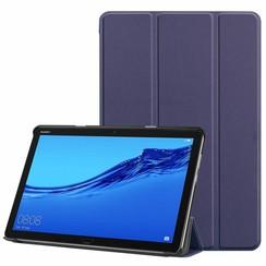 Case2go - Case for Huawei MediaPad M5 Lite 10.1 - Slim Tri-Fold Book Case - Lightweight Smart Cover - Navy Blue