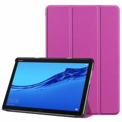 Case2go - Case for Huawei MediaPad M5 Lite 10.1 - Slim Tri-Fold Book Case - Lightweight Smart Cover - Purple